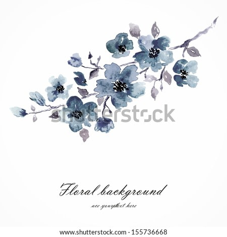 Cherry blossom. Sakura flowers. Floral background. Branch with blue flowers. Birthday card.