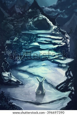 Cartoon illustration of white rabbit bunny is standing in front of a dark scary cave entrance in the rocky mountain landscape with animal bone and corpse scene