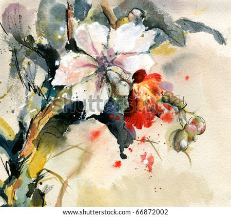 Painting of bright orchid in bloom