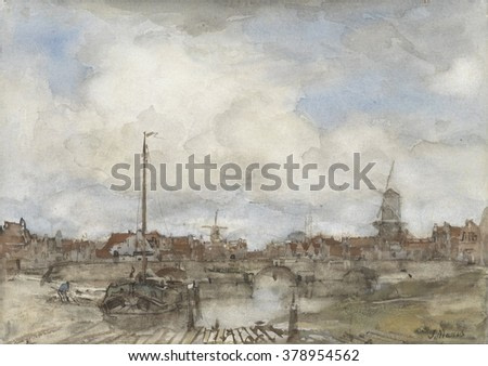 View of a City, by Jacob Maris, c. 1860-1890, Dutch painting, watercolor.