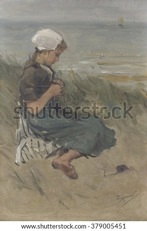 Girl Knitting in the Dunes, by Bernardus Johannes Blommers, c. 1890-1920. Dutch watercolor painting.