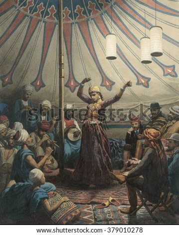 Egyptian Dancer in a Tent, by Willem de Famars Testas, 1863, Dutch Painting, watercolor. Young woman dancer performs with musician for audience of Arabs and Europeans.