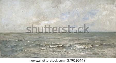 Seascape, by Charles Francois Daubigny, 1876, French painting, oil on canvas. Waves washing ashore with fishing boats in distance.