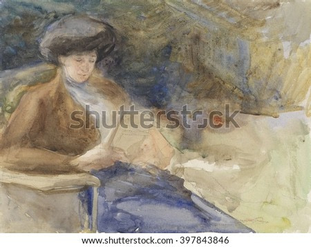 Sitting Woman Reading, by Bramine Hubrecht, 1865-1913, Dutch watercolor painting, drawing on paper