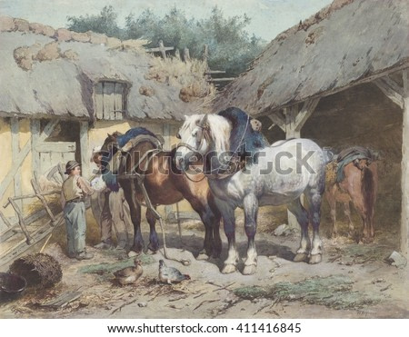 Horses at a Stable, by Wouter Verschuur, c. 1870-1900, Dutch painting, watercolor on paper. Two robust work horse wear part of their harnesses, while under care of stable hands