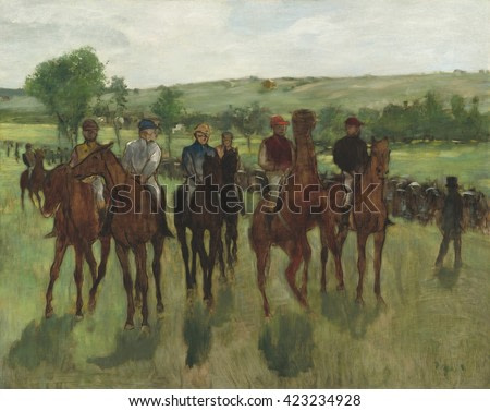 The Riders, by Edgar Degas, 1885, French impressionist painting, oil on canvas. Degas captured a passing moment with the movement of the horses and the colors of the jockeys' uniforms