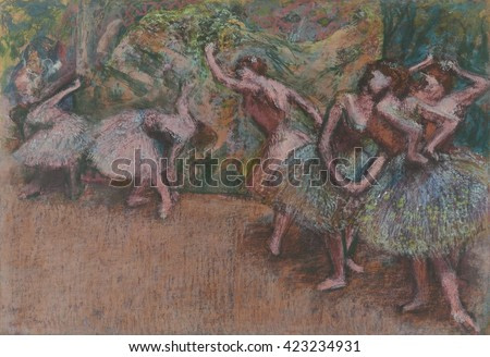 Ballet Scene, by Edgar Degas, 1907, French impressionist pastel drawing. In the late 1890s, Degas\xCD work became more abstract. He used pastel more frequently, choosing intense,