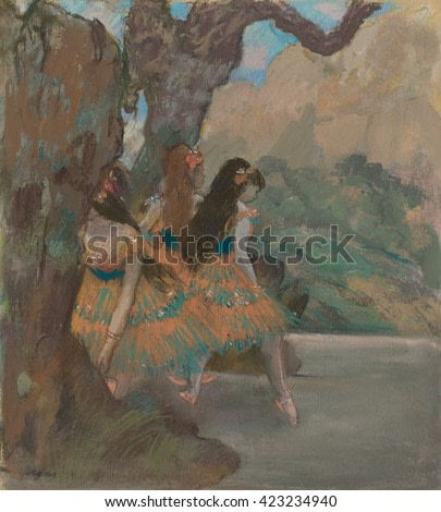 Ballet Dancers, by Edgar Degas, 1877, French impressionist pastel drawing. Dancers emerge from the scenery flat at the side of the stage