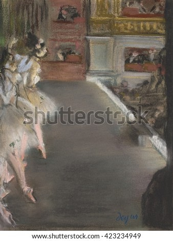 Dancers at the Old Opera House, by Edgar Degas, 1877, French impressionist pastel drawing. Ballet dancers on Paris Opera House stage during a performance. This pastel drawing's untraditional composit