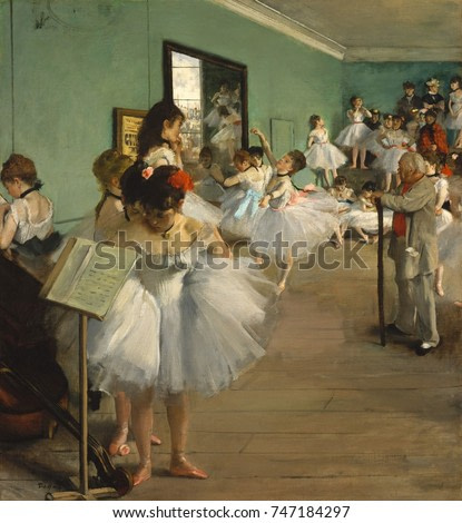 The Dance Class, by Edgar Degas, 1873, French impressionist painting, oil on canvas. Over twenty women, ballerinas and their mothers, wait while a dancer executes her examination. Jules Perrot, a famo