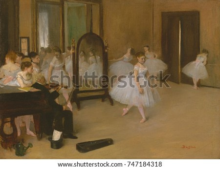 The Dancing Class, by Edgar Degas, 1870, French impressionist painting, oil on wood. This is Degass first depiction of a dance class, painted from study drawings