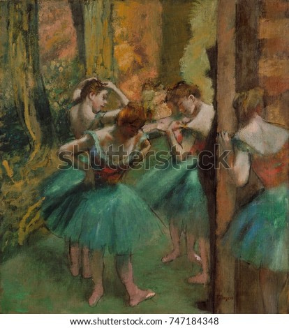 Dancers, Pink and Green, by Edgar Degas, 1890, French impressionist painting, oil on canvas. The dark profile shows a top-hatted patron of the Paris Opera, who was allowed to be watch the dancers in t