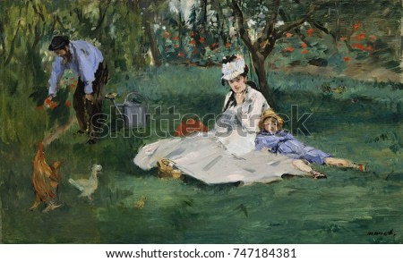 Monet Family in Their Argenteuil Garden, by Edouard Manet, 1874, French impressionist oil painting. Manet and Renoir were guests of Monet when this work was painted. When not posing, Monet painted Man