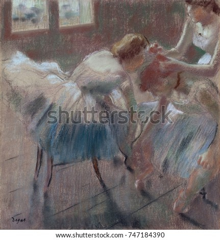 Three Dancers Preparing for Class, by Edgar Degas, 1878-90, French impressionist pastel drawing. The dancer on right is fifteen-year-old Melina Darde, a second-line dancer who never became a soloist