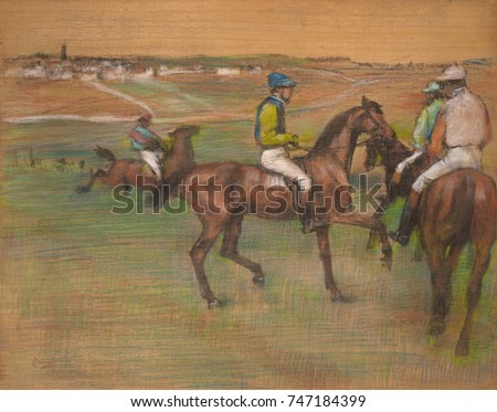 Race Horses, by Edgar Degas, 1885-88, French impressionist drawing, pastel on wood. Degas applied the pastel directly on a wood panel, allowing the bare wood to represent the sky