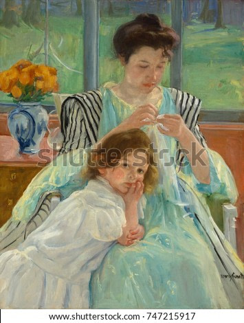 Young Mother Sewing, by Mary Cassatt, 1900, French impressionist painting, oil on canvas. Painted in soft greens, a mother adjusts her task to accommodate the presence of the young child