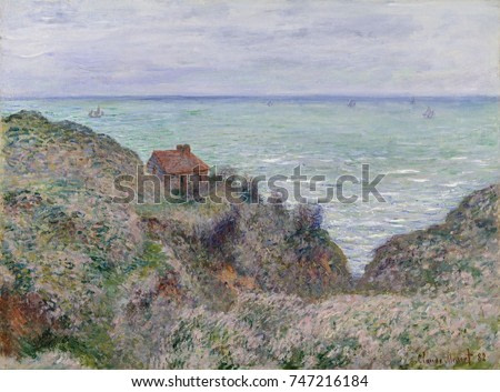 Cabin of the Customs Watch, by Claude Monet, 1882, French impressionist painting, oil on canvas. This painting is one of 14 views Monet made at Pourville in 1882