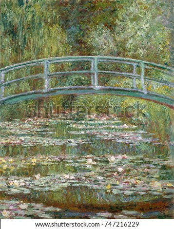 Bridge over a Pond of Water Lilies, by Claude Monet, 1899, French impressionist oil painting. In the summer of 1899 Monet completed 12 canvases of the wooden footbridge over the lily pond at Giverny