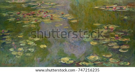 Water Lilies, by Claude Monet, 1919, French impressionist painting, oil on canvas. Monet left many of his late works unfinished, but this work was an exception which he signed and sold in 1919