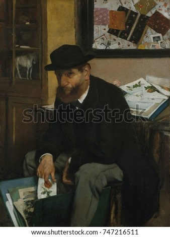 The Collector of Prints, by Edgar Degas, 1866, French impressionist painting, oil on canvas. Informally posed as if in a candid photo, the print sellers inventory includes common colored lithographs o
