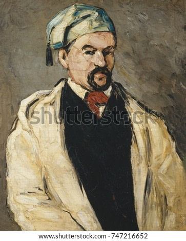 Antoine Dominique Sauveur Aubert, by Paul Cezanne, 1866, French Post-Impressionist oil painting. Cezanne painted his maternal uncle, Dominique Aubert, in different costumes, such as this robe and tass