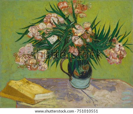 Oleanders, by Vincent Van Gogh, 1888, Dutch Post-Impressionist, oil on canvas. The flowers fill a majolica jug that he used for other still lifes and share the table with Emile Zolas novel, La Joie de