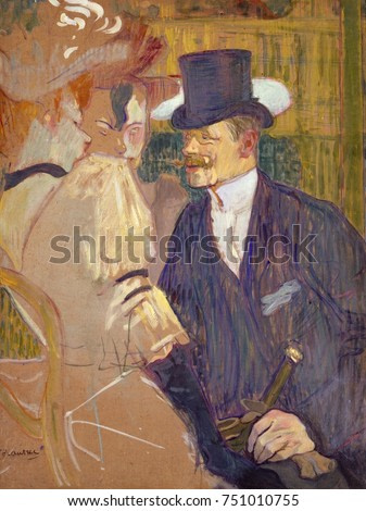 The Englishman at the Moulin Rouge, by Henri de Toulouse-Lautrec, 1892, Post-Impressionist painting. Lautrecs friend, English painter William Tom Warrener, appears as a top-hatted gentleman with two f