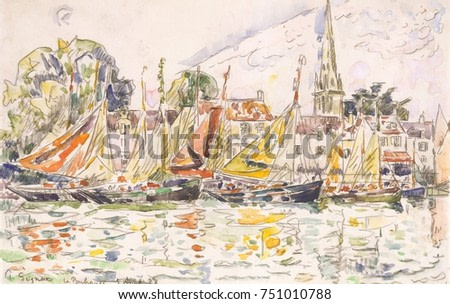 Le Pouliguen: Fishing Boats, by Paul Signac, 1928, French Post-Impressionist watercolor painting. Signac added watercolor over a black crayon drawing to paint the fishing port Le Pouliguen, on the sou