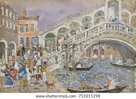 RIALTO BRIDGE , by Maurice Brazil Prendergast, 1911_12, Canadian-American watercolor. Drawing with gouache and charcoal on paper. This was painted during his second trip to Venice in the personal styl