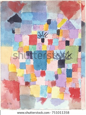 SOUTHERN GARDENS, by Paul Klee, 1913, Swiss drawing, watercolor and ink on paper. This early abstract work was painted under the influence of Cubists Picasso and Braque, and the abstract colorists Rob