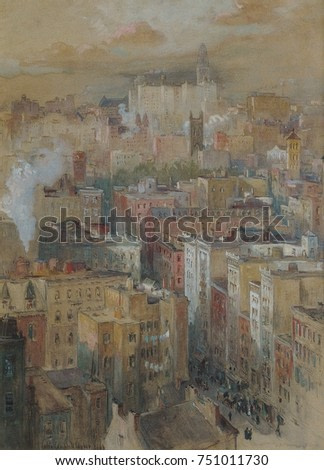 VIEW OF NEW YORK CITY, by Colin Campbell Cooper, 1910 c., American watercolor and gouache drawing. View of NYC from a high point of view. Cooper specialized in impressionist architectural paintings