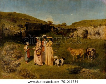YOUNG LADIES OF THE VILLAGE, by Gustave Courbet, 1851-52, French painting, oil on canvas. The artists three sisters, offer alms to a young cowherd, while walking to his native village of Ornans. It is