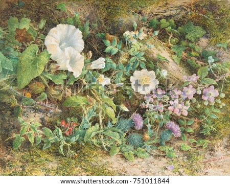 FLOWER STUDY, by John Jessop Hardwick, 1866, British watercolor painting. Petunias, wild roses, thistles, and red berries grow amongst moss and fallen logs. Hartwick used William Henry Hunts technique