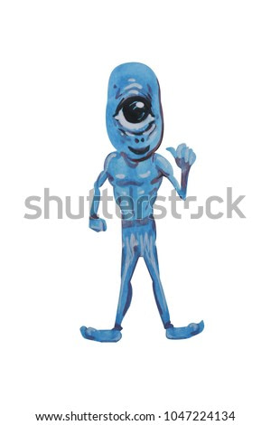 Watercolor paintings aliens.Isolate and Clipping path