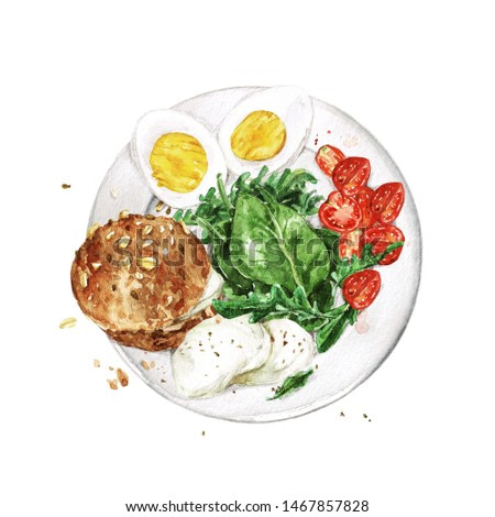 Healthy Breakfast - bread, eggs, cheese, greens and tomatoes. Watercolor Illustration