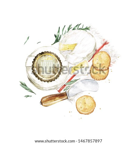 Brie Cheese with Knife and Crackers. Watercolor Illustration