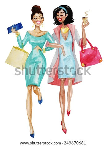 Two happy women walking with coffee cup and shopping bags. Watercolor illustration isolated on white.