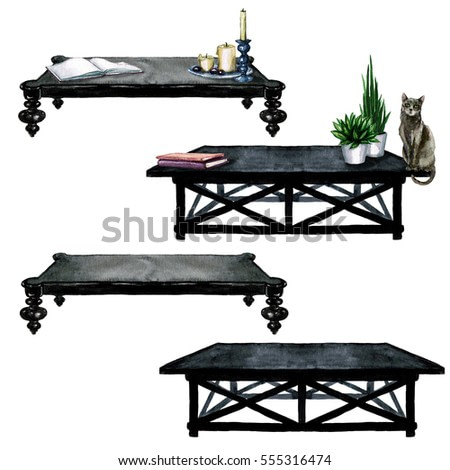 Black Living Room Tables with and without additional decor  - Watercolor Illustration.