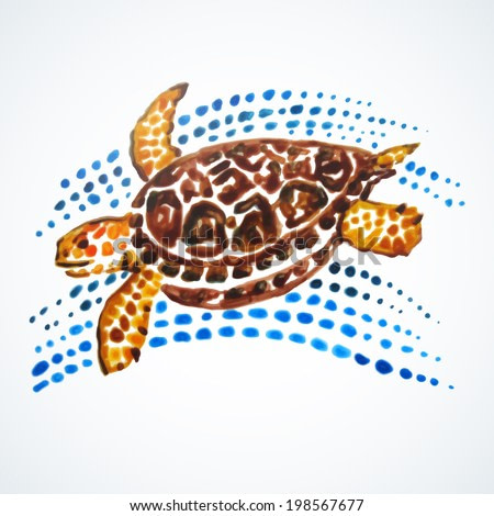 Sea Turtle Hand Painted.  Vector illustration. Hand painting. Illustration for greeting cards, invitations, and other printing projects.