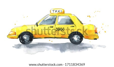 Watercolor yellow traditional  taxi, hand painted