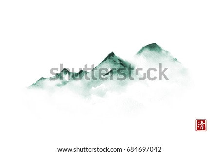 Far green mountains in fog on white background. Traditional oriental ink painting sumi-e, u-sin, go-hua. Minimalistic illustration.