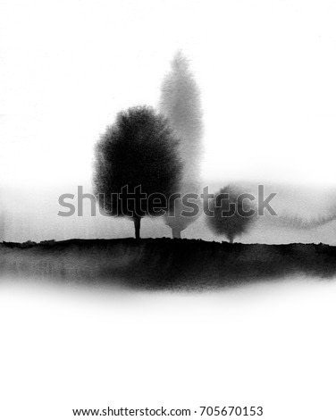 Landscape with trees in fog hand drawn with ink in asian style. Misty meadow. Traditional oriental ink painting sumi-e, u-sin, go-hua