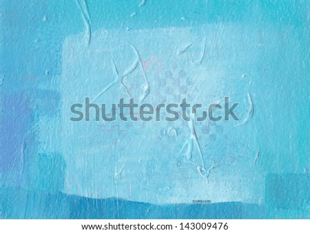 Textured blue abstract painting. Hand painted blue grunge