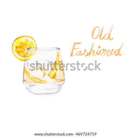 Old Fashioned. Cocktails , watercolor painting isolated on white background.
