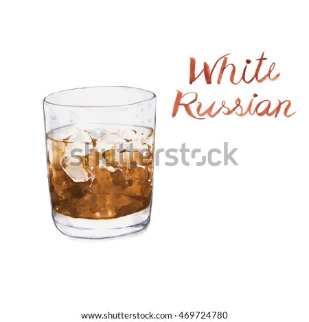 White russian. Cocktails , watercolor painting isolated on white background.
