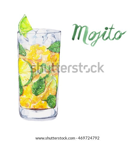 Mojito. Cocktails , watercolor painting isolated on white background.