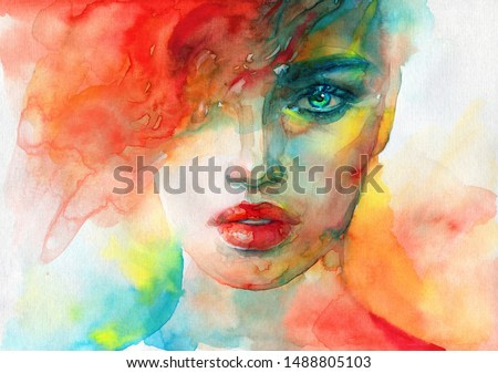 abstract face. fashion illustration. contemporary watercolor painting