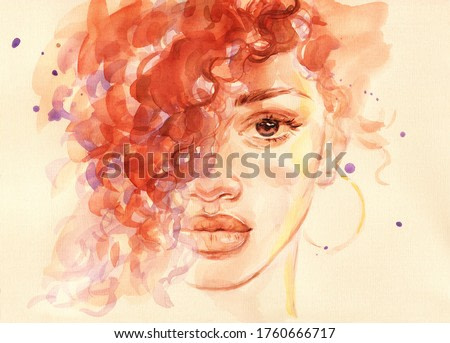 african american woman. fashion illustration. watercolor painting