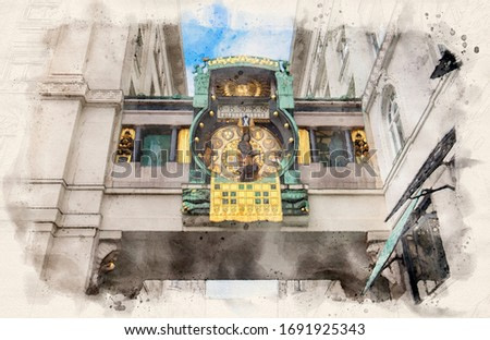 An astronomical clock Ankeruhr (Anker clock) in Vienna old town, Austria. This clock was build and designed by Franz von Matsch. Watercolor style illustration