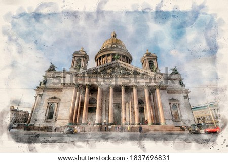 Saint Isaac's Cathedral or Isaakievskiy Sobor is the largest Russian Orthodox church (sobor) in Saint Petersburg, Russia. watercolor sketch painting